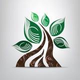 Stilisierter Baum des Vektors mit Weinleseverzierung Stockfotografie
