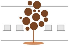 Stilisierter Baum mit den Fenstern lokalisiert Lizenzfreie Stockbilder