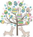 Stilisierter Baum mit den Kaninchen lokalisiert auf Weiß Stockfoto