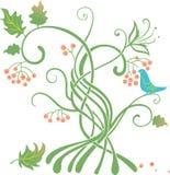 Stilisierter Baum mit einem Vogel, der Beeren isst Lizenzfreie Stockbilder