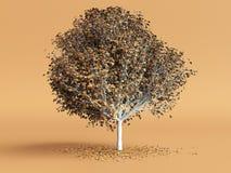 Stilisierter Baum mit Gelb verlässt auf orange Farbhintergrund 3d übertragen Stockbilder