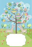 Stilisierter Baum mit Kaninchen - Grußkarte Lizenzfreie Stockbilder