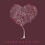 Stilisierter Baum, Valentinstagkarte Lizenzfreies Stockbild