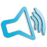 Stilisierter dynamischer Sprecher als solides Ikonenemblem Lizenzfreie Stockfotos