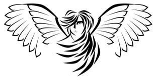 Stilisierter Engel im Schwarzen lokalisiert stock abbildung