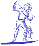 Stilisierter Fischer mit Fischen im Blau lokalisiert vektor abbildung