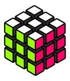 Stilisierter gelöster Würfel mit weißen grünen und rosa Oberflächen vektor abbildung