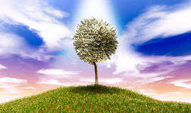 Stilisierter Geld-Baum-amerikanische Dollar-Anmerkungen über grasartigen Hügel Lizenzfreie Stockfotografie