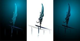 Stilisierter, geometrischer Turner, gymnastische Stange, Barren Lizenzfreie Abbildung
