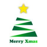 Stilisierter grüner Weihnachtsbaum mit einem Goldstern Stockfotografie