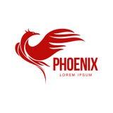 Stilisierter grafischer Phoenix-Vogel, der in der Flammenlogoschablone wieder belebt Lizenzfreie Stockfotos