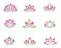Stilisierter Lotosblumen-Ikonenvektorhintergrund Stockbild