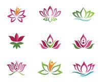Stilisierter Lotosblumen-Ikonenvektorhintergrund Lizenzfreie Stockfotos