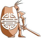 Stilisierter mittelalterlicher Ritter mit chinesischem Symbol des doppelten Glückes Stockbild