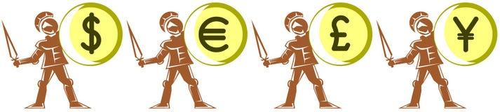 Stilisierter mittelalterlicher Soldat mit Wertsymbol auf Schild Stockbild