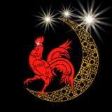 Stilisierter Monat mit Sternen Hahn mit 2017 Rottönen Verzierung in der Ostart Symbol Illustration: Lizenzfreie Stockfotografie
