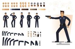 Stilisierter Polizist, flache Vektorillustration Satz verschiedene Elemente, Gefühle, Gesten, Körperteile für Charakteranimation Stockfoto