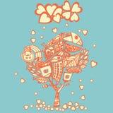 Stilisierter psychedelischer Baum unter dem Herzregen Stockbild