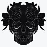 Stilisierter Schädel des Vektors Menschlicher Schädel mit Verzierungen lineare Kunst tätowierung Lizenzfreie Stockbilder