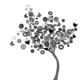 Stilisierter schwarzer Baum mit Kreisen und Schmetterlingen Stockbilder