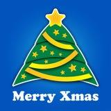 Stilisierter Weihnachtsbaum mit Sternen und Bändern Lizenzfreies Stockbild