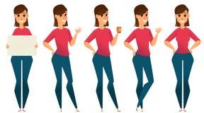 Stilisierter Zeichensatz Lächelnde Geschäftsfrau Stockbilder