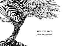 Stilisiertes Baumschattenbild, Handgezogener Blumenhintergrund stockfotos