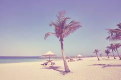 Stilisiertes Bild der Weinlese des leeren tropischen Strandes Stockbilder