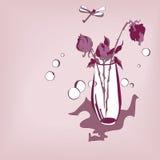 Stilisiertes Bild des Blumenstraußes der Rosen und der Libelle Stockbilder