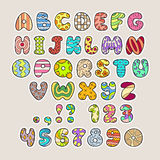 Stilisiertes buntes Alphabet und Zahlen im Vektor Stockfotos