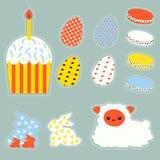 Stilisiertes Ostern stellte mit Ostereiern, bunnys, Kuchen und Lamm ein lizenzfreie abbildung