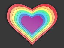 Stilisiertes Papierherz des Regenbogens stockbild