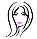 Stilisiertes Schattenbild der hübschen Frau Stockfotografie