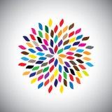Stilisiertes Vektorgrün lässt Ikone vereinbart im Muster - das conc eco Stockfotos