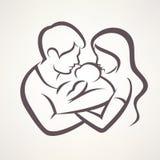 Stilisiertes Vektorsymbol der glücklichen Familie stock abbildung
