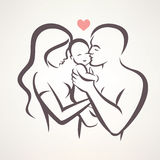 Stilisiertes Vektorsymbol der glücklichen Familie vektor abbildung