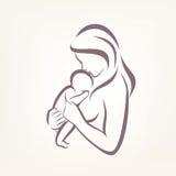 Stilisiertes Vektorsymbol der Mutter und des Babys Stockbilder