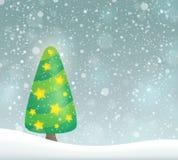 Stilisiertes Weihnachtsbaum-Themabild 6 Lizenzfreies Stockbild