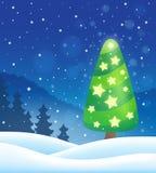 Stilisiertes Weihnachtsbaum-Themabild 8 Lizenzfreies Stockfoto
