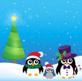 Stilisiertes Weihnachtspinguinthema 3 Stockfotografie