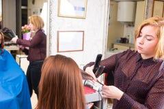 Stilist die Vlak Ijzer op Haar van Donkerbruine Cliënt gebruiken stock afbeeldingen