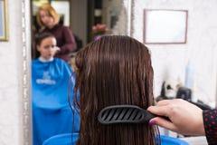 Stilist het Borstelen Haar van Donkerbruine Cliënt in Salon stock fotografie