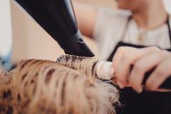 stilist het borstelen vrouwenhaar in salonpool royalty-vrije stock foto's
