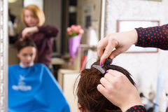 Stilist het Knippen Haar van Donkerbruine Vrouw in Salon stock afbeeldingen