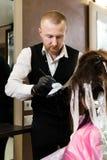 Stilista con tintura per capelli ed i capelli di coloritura della spazzola al salone fotografie stock