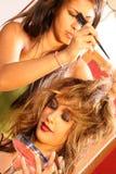 Stilista di capelli sull'insieme Fotografia Stock