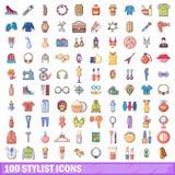 100 Stilistikonen eingestellt, Karikaturart Stockfoto
