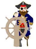 Stilistische Mannelijke Piraat die houten wiel grijpt Stock Foto's