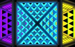 Stilistischer abstrakter heller Hintergrund mit einer verschiedenen geometrischen Struktur Abbildung 3D vektor abbildung