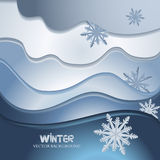 Stilized winter background with hand drawn snowflake. Stilized winter background in origami style Stock Images